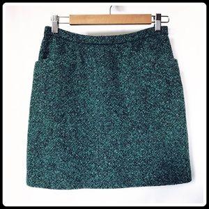 Agnes b Paris dark teal blue tweed mini skirt